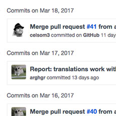 Screenshot of GitHub commit log