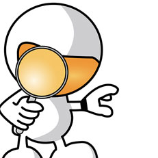 Image of cartoon character holding magnifying glass